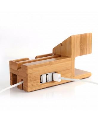Soporte Applewatch y  iphone HUB USB Bambú