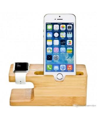 Soporte Applewatch y  iphone  Bambú