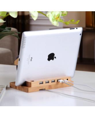 Soporte Carga Apple Watch iPhone iPad HUB USB Bambú