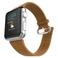 Correa AppleWatch Cuero Con Hebilla Cafe 42mm / 44mm