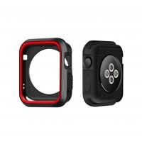 Carcasa Applewatch Antigolpes Negro Rojo 42mm