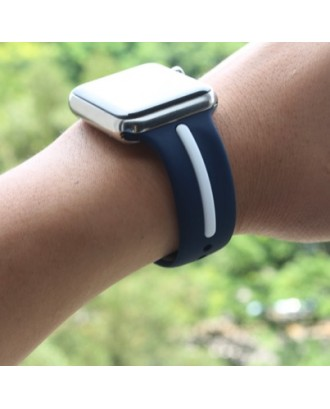 Correa Para Applewatch Silicona Negro Azul 38mm
