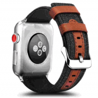 Correa AppleWatch Cuero y Tela Negra 38mm / 40mm