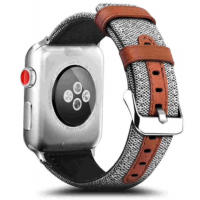 Correa AppleWatch Cuero y Tela Gris 38mm / 40mm