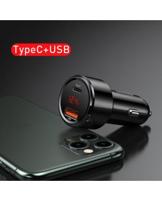 Cargador Auto Rapido USB USB-C Baseus 45W Black