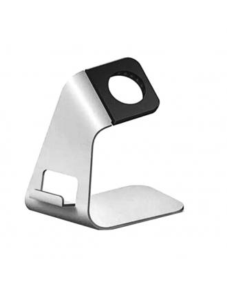 Soporte Apple Watch Iphone Aluminio Compacto Silver