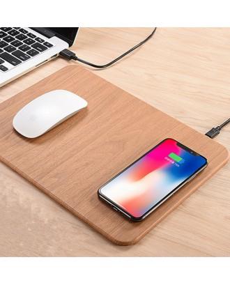 Mouse Pad 2 en 1 con Carga Inalámbrica QI Celulares diseño madera