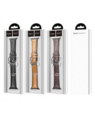 Correa Para Applewatch Cuero Premium Hoco Fenix 38mm / 40mm Negra