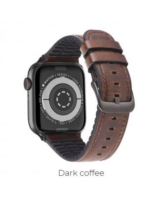 Correa Para Applewatch Cuero Premium Hoco Fenix 42mm / 44mm Cafe