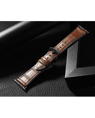 Correa Para Applewatch Cuero Bambu Premium Hoco 42mm / 44mm Cafe