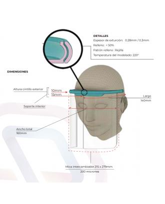 Escudo Resistencia Protector Facial 200 Micrones Impresion 3d