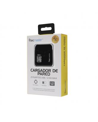 Cargador Celular Pared Doble USB 2.4A iPhone Android Tecmaster