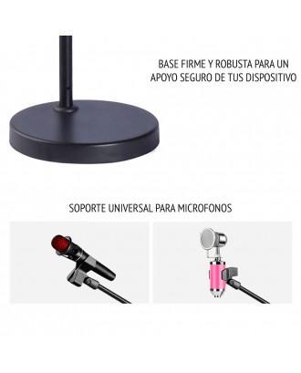 Aro de Luz Atril 15CM Microfono 2 Celulares Streaming Premium