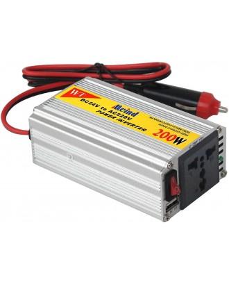 Inversor Voltaje Auto 200W 5/12Volt A 220V Aluminio
