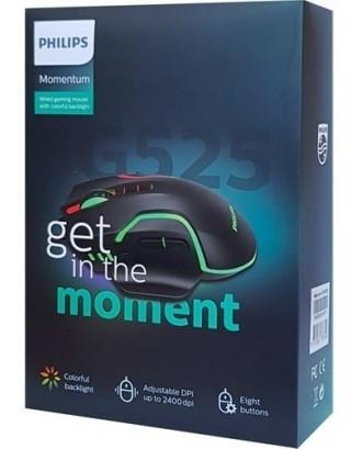 Mouse Gamer RGB Philips G525 2400DPI 8 Botones