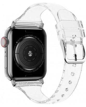 Correa Para Applewatch Silicona Glitter 38mm / 40mm Transparente