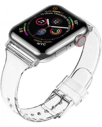 Correa Para Applewatch Silicona Glitter 42mm / 44mm Transparente