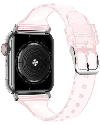 Correa Para Applewatch Silicona Glitter 42mm / 44mm Transp Rosada
