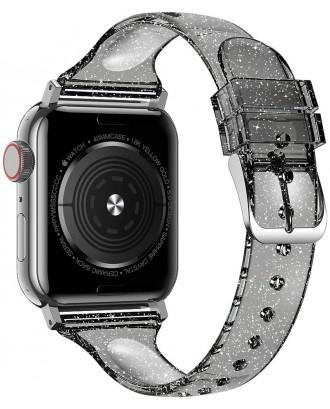 Correa Para Applewatch Silicona Glitter 38mm / 40mm Transp Negro