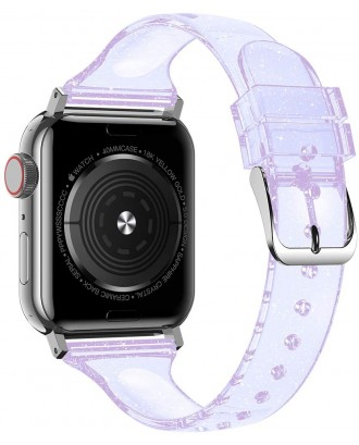 Correa Para Applewatch Silicona Glitter 38mm / 40mm Transp Lila