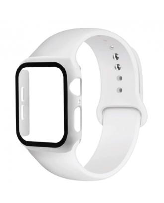 Kit Correa Silicona Protector Pantalla Applewatch 40mm Blanco