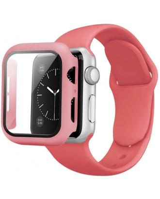 Kit Correa Silicona Protector Pantalla Applewatch 40mm Rosado