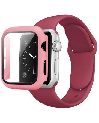 Kit Correa Silicona Protector Pantalla Applewatch 40mm Burdeo
