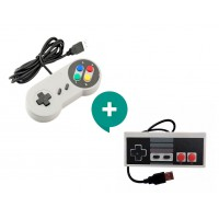 Pack Joystick Usb Pc Diseño Snes y Nes