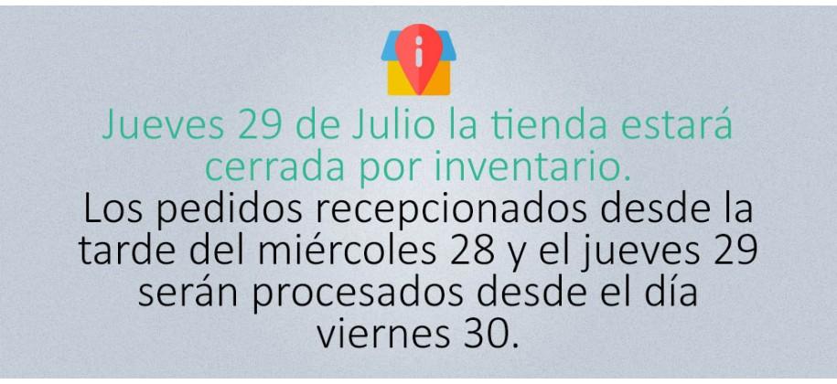 Jueves 29 de Julio la tienda estará cerrada